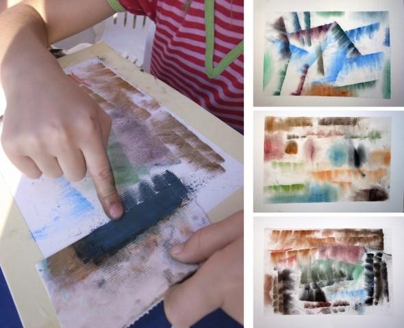 Pintura frotada / Rubber painting / Rubbel Bilder