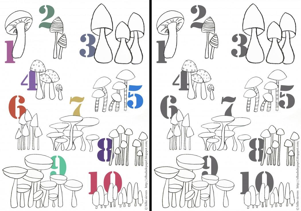 pilze numern template kinder ausmalen niños descargar setas numeros