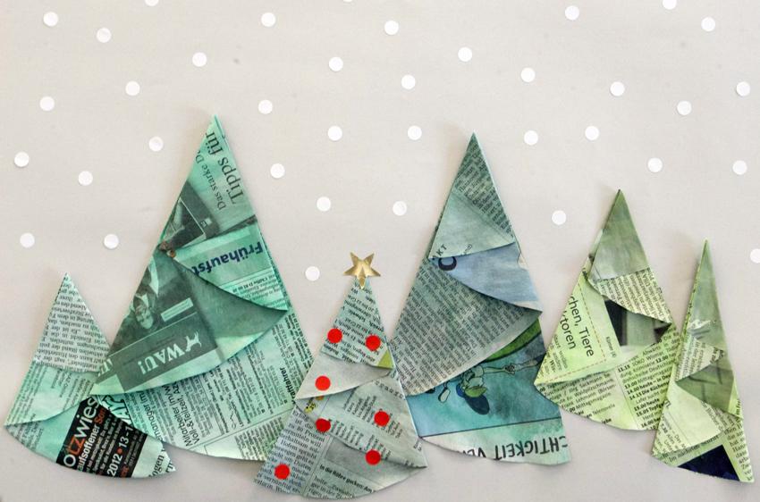 Tannenb ume papier origami einfach kinder easy kids fold - Arbol de navidad origami ...