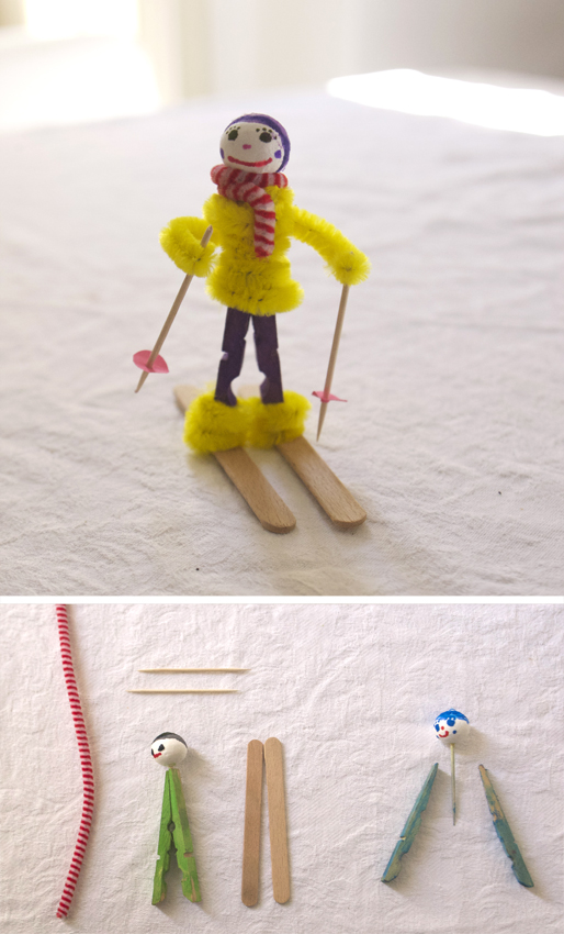 skifahrer wäscheklammern basteln kinder deko Esquiador pinzas niños manualidad craft kids skier deco clothes pins