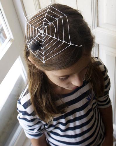 telaraña halloween tocado headdress cobweb spider kids niños haarschmuck kinder spinnennetz
