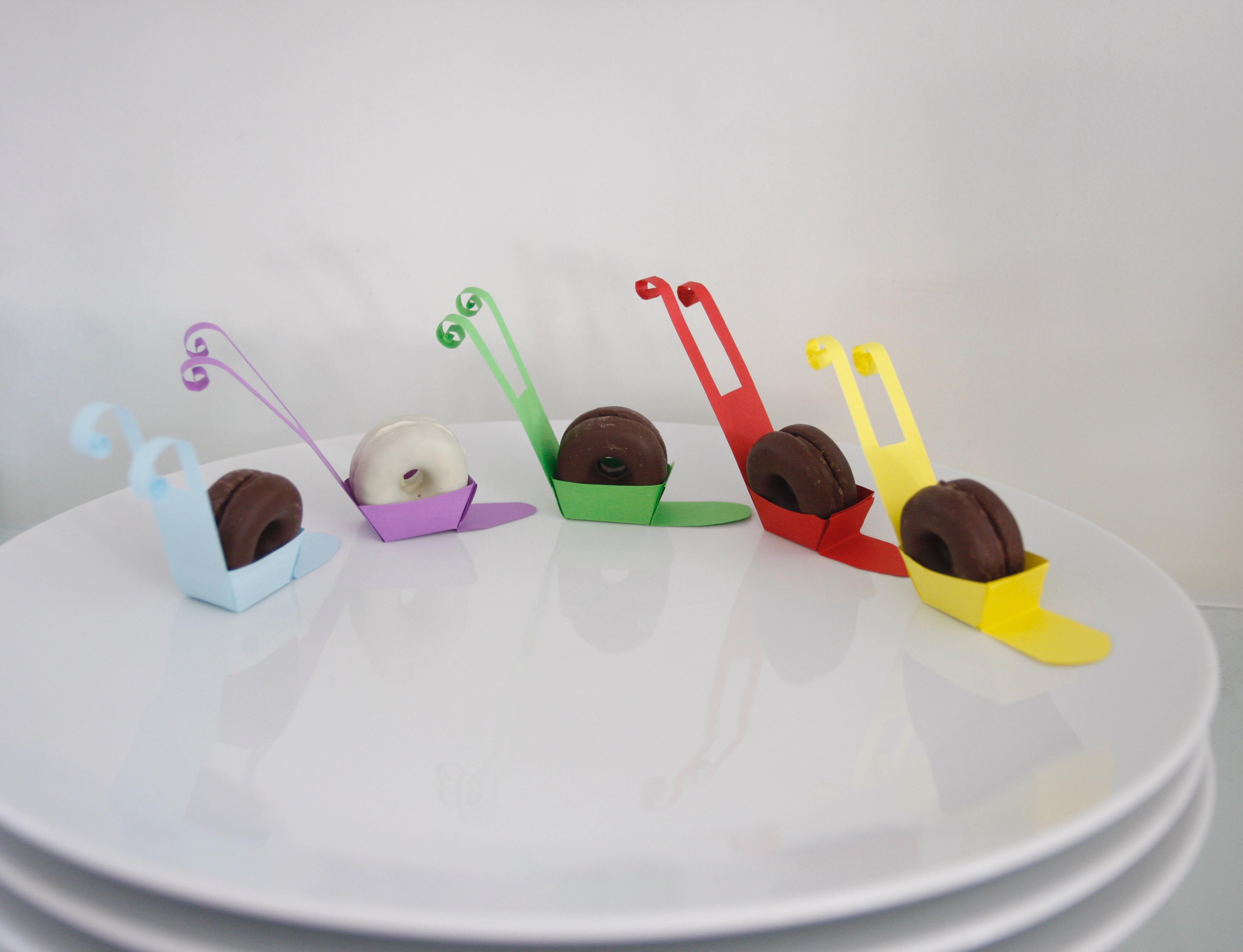 Kinder deko  filipinos kekse galletas schnecke snail caracol paper papel papier ...