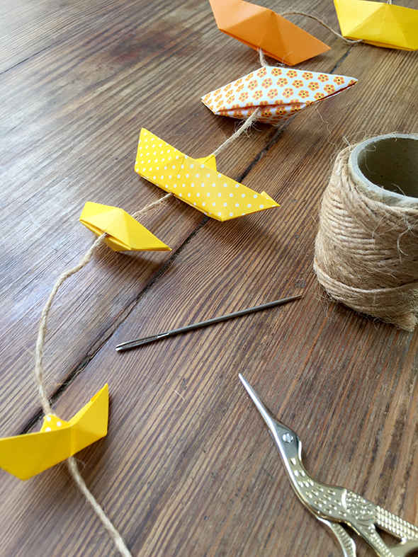 barcos papel origami papier schiff guirlande girlande paper ship kids decoration decoracion