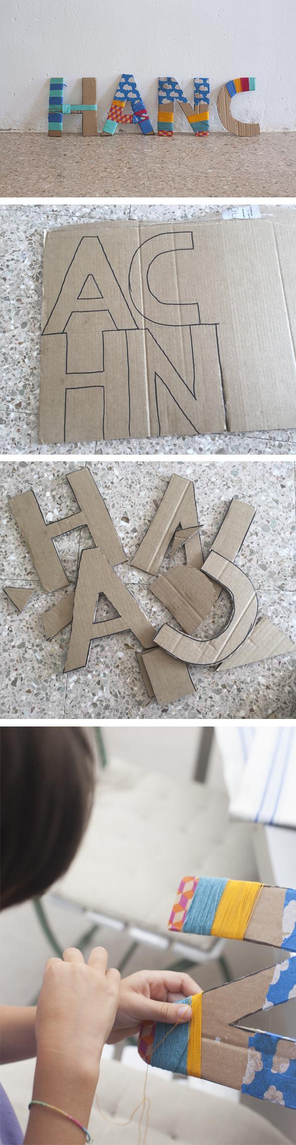 manualidad fun craft basteln letras nombre carton cardboard letter kids ninos kinder buchstaben karton deco deko