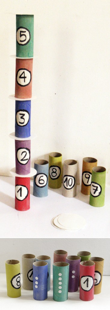 klopapierrollen turm nummern kinder lernen tower toilet paper roll kids learn numbers torre rollo higiénico niños aprender  números kids craft game