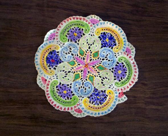 Papier deckchen blondas de papel paper dollies mandala pintar niños kinder kids niños paint malen deco diy