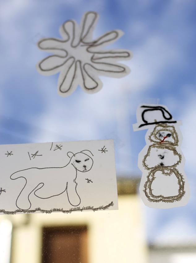 Fensterbilder Schnee Folie Wolle Imagen Nieve Ventana Lana