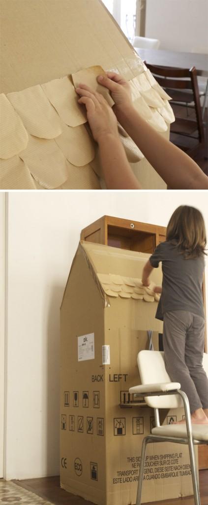 casita carton haus karton cardboard house kids ninos kind craft basteln selber machen kids