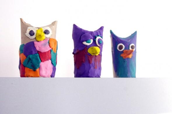 craft manualidad basteln kinder kids niños reciclar recycling facil easy dough einfach tier animal owl plastelina knete