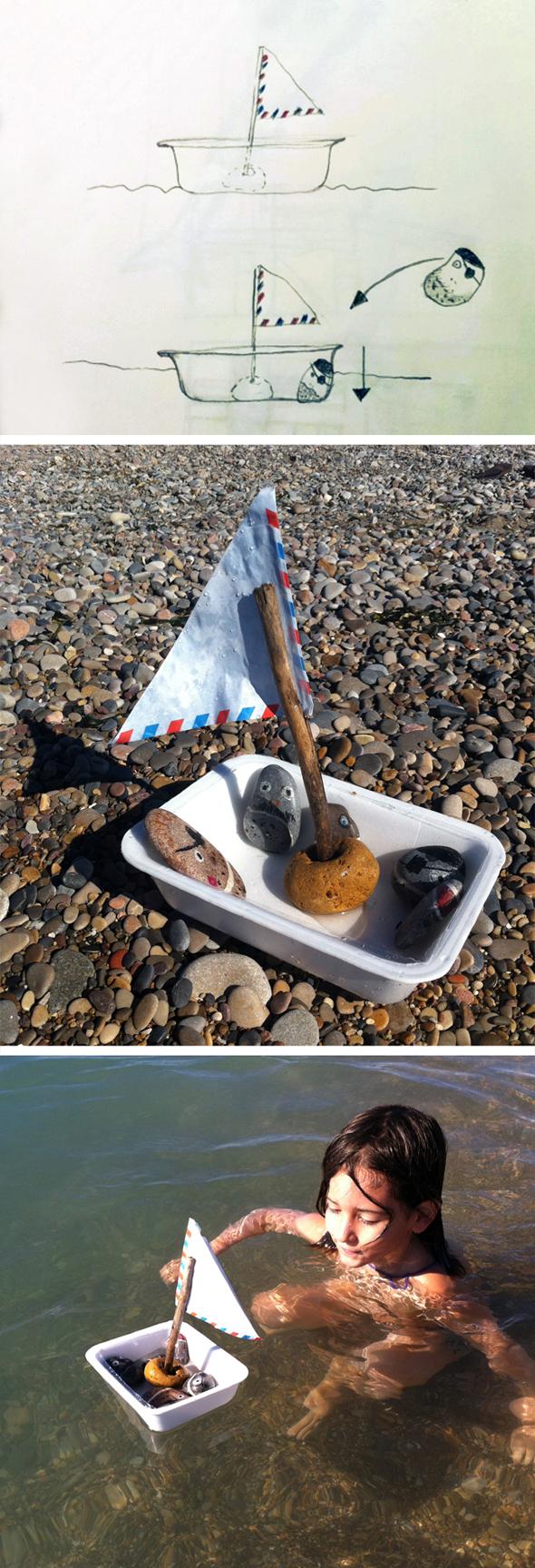 barco piedra reciclar boot kinder niños recycling steine piraten piratas pirats kids rocks fun water craft