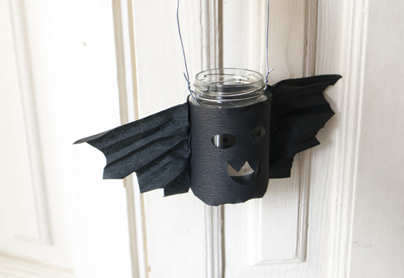 halloween bote cristal bat farolita laterne light licht luz kinder basteln craft kidsfledermaus glas 2