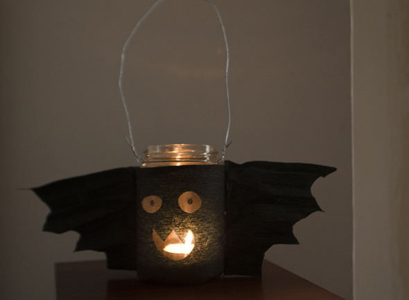 halloween bote cristal bat farolita laterne light licht luz kinder basteln craft kidsfledermaus glas