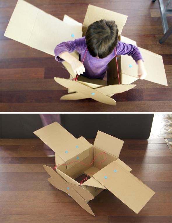 cartón cardboard karton flugzeug avion airplane kids niños kinder jugar play spielen