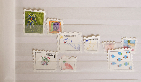sellos fantasie briefmarken sellos stamps kids ninos kinder creatividad creativity kreativität