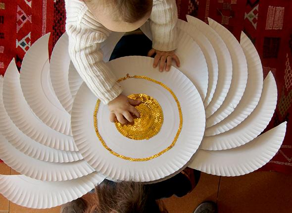 alas platos de carton pappteller flügel wings cardboard plate kids kinder costume ninos disfraz verkleidung