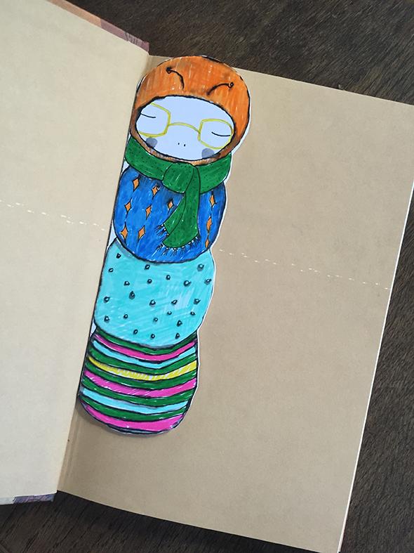 Gusano marcapáginas / Bookworm Bookmark / Bücherwurm Lesezeichen