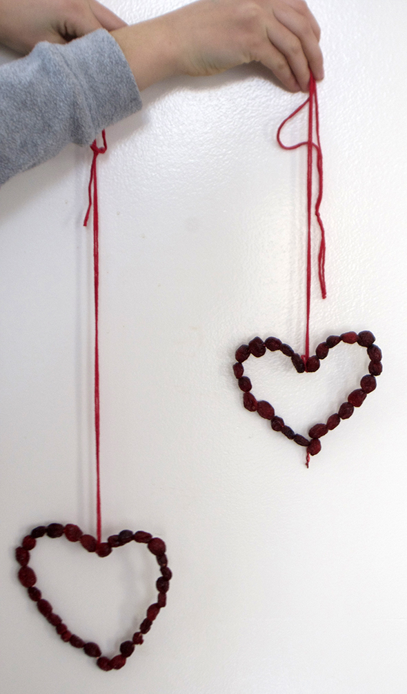 hearts wire dried berries chain pendant
