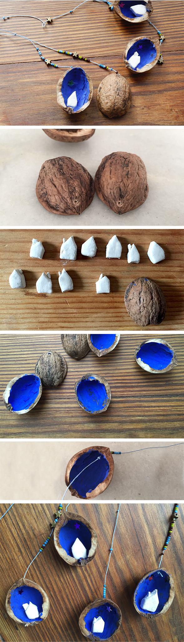 anhänger colgante penadant casa house haus manualidad craft basteln nuss nuez nut
