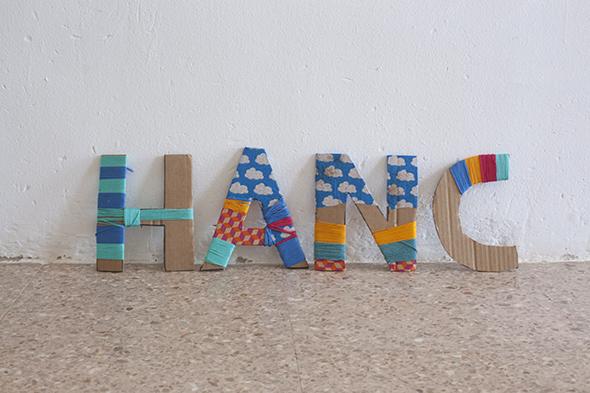 manualidad craft basteln letras nombre carton cardboard letter kids ninos kinder buchstaben karton deco deko